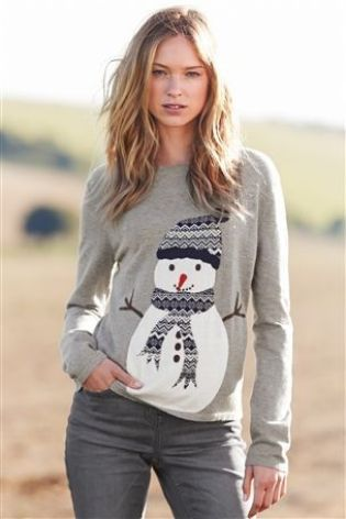 ladies grey jumper with snowman christmas jumpers womens christmas jumpers christmas jumpers