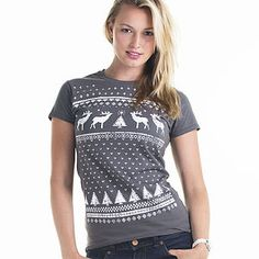 grey womens christmas t shirt with deer design
